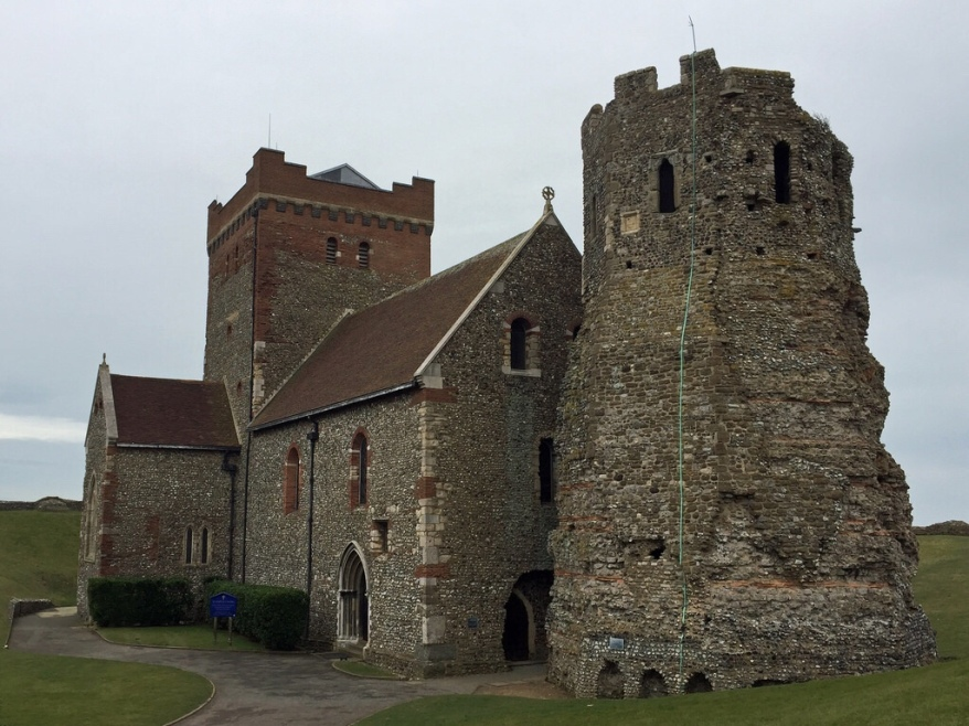 The Roman lighthouse at the medieval castle of Dover is the