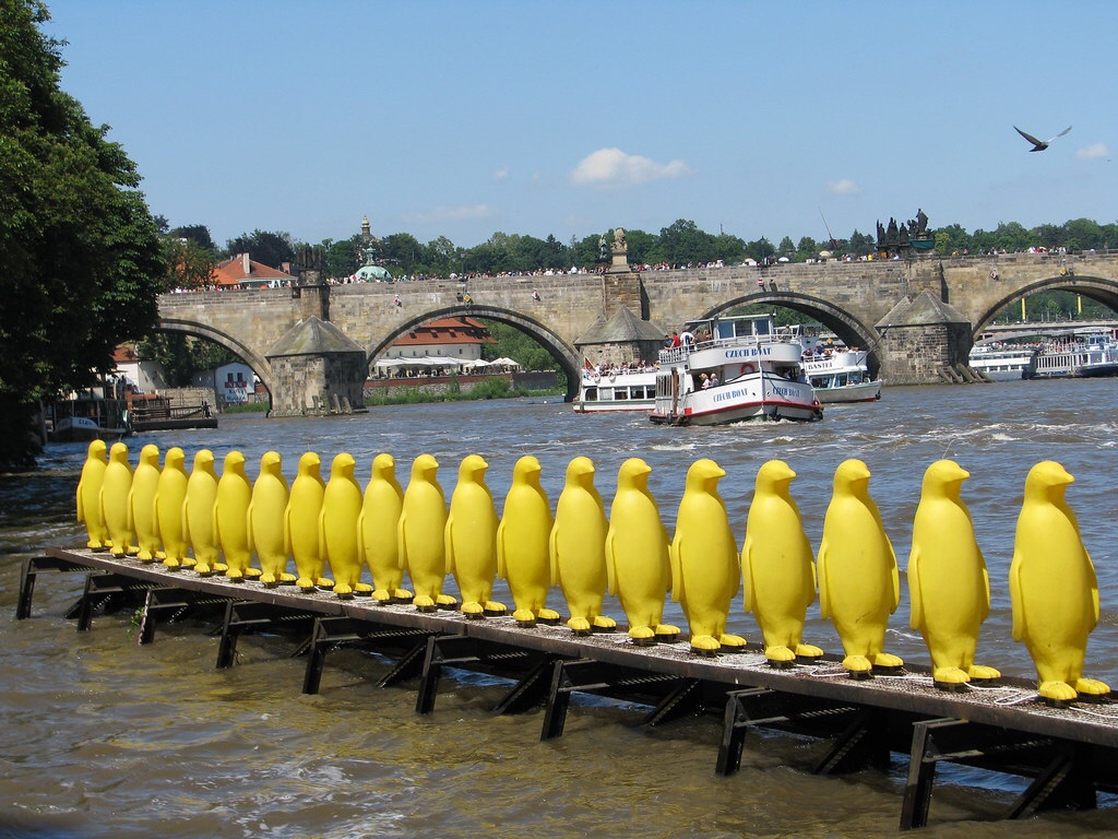Prague: the penguins at Kampa Park which share a serious message about the environment.