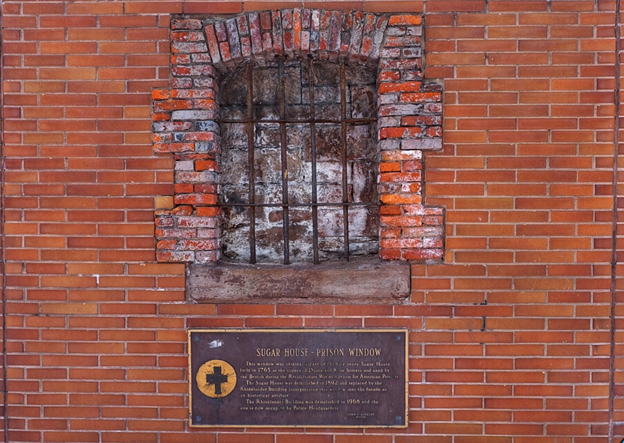 A revolutionary war Sugar House prison window in downtown Manhattan
